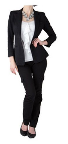 [pre-sorted] Black blazer and matching black pants (or substitute navy for both), white blouse with ruffle, statement necklace, black shoes.