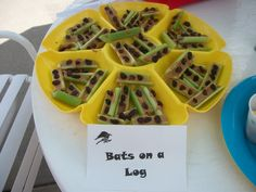 "Batman Themed Birthday Party Snack Idea: Bats on a log. - Occupation:Mom: ""Holy Birthday Party Batman!"""