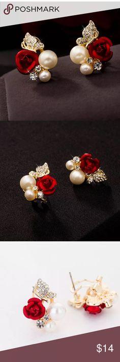 Rose Pearl Stud Earrings NWOT red rose Pearl stud earrings. Jewelry Earrings