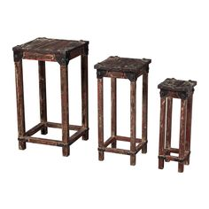Sterling Industries 51-10035-S3 Distressed Finish Stacking Table in Horizonte - Set of 3