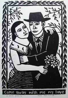 Rick Beerhorst's Come Away with Me My Love 11x14 Woodcut on Etsy at studiobeerhorst