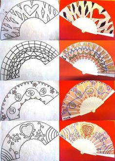 Painted Fan, Hand Painted, Cultural Crafts, Crafts For Kids, Arts And Crafts, Japanese Drawings, Spanish Art, Tangle Art, Paper Fans