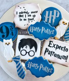 Ravenclaw House is the best House. Harry Potter Treats, Gateau Harry Potter, Harry Potter Cupcakes, Cumpleaños Harry Potter, Harry Potter Birthday Cake, Galletas Cookies, Cute Cookies, Sugar Cookies, Ravenclaw