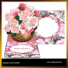 View Pink Roses Basket Easel Card & matching Envelope Details