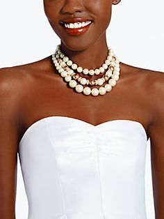 Kate Spade: parlour pearls triple strand necklace, cream multi