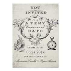 Alice in Wonderland Wedding Invitation: Use these wedding invitations to send to your friends and family to invite them to the wedding of your dreams. Use the prompt to customize the product. If you wish to change the graphic, please contact me through my store.  Antique Chandelier