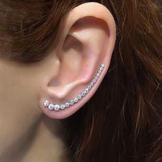 Sterling Silver ear crawler earrings, white long ear cuff earrings, ear climber earrings, earcuffs, ear pins, ear sweep, ear wraps by TrendSilver on Etsy https://www.etsy.com/listing/236144554/sterling-silver-ear-crawler-earrings