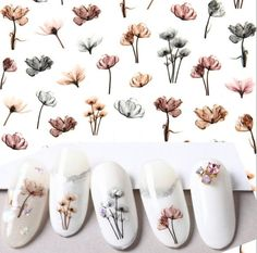 Floral Nail Art Sticker/ DIY Tips Guides Transfer Stickers/ Woodland flower Sticker/ UV gel nail polish manicure stencil Colorful Nail Art, Floral Nail Art, 3d Nail Art, Uv Gel Nail Polish, Uv Gel Nails, Nail Art Stickers, Diy Stickers, Diy Your Nails, Nail Art At Home
