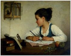 A Girl Writing; The Pet Goldfinch by Henriette Browne 1876 [Victoria and Albert Museum]