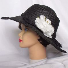 7bc95cae33d Ladies Wide Brim Hat Black Womens Ky Derby Floppy Sun Church Beach Fashion  Hat