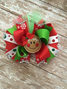 Red Christmas Hair Bow Red And White By ValartCreativeStudio  - Christmas Tree Hair Bows