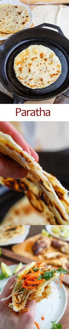 Paratha Recipe : Flat bread that is folded, rolled out and grilled to make it light, layered, flaky and crispy. Indian Dessert Recipes, Indian Recipes, Vegetarian Recipes, Cooking Recipes, Paratha Recipes, Dinner Rolls Recipe, Bread And Pastries, Holiday Dinner, Sweet Bread