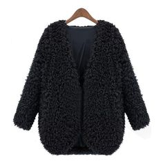 SheIn(sheinside) Black V Neck Long Sleeve Faux Fur Coat (237.545 IDR) ❤ liked on Polyvore featuring outerwear, coats, sheinside, chaquetas, tops, black, imitation fur coats, faux fur coats, black faux fur coat and short coat