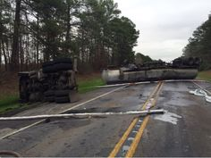 Around 9:20am a tanker hauling diesel fuel overturned blocking Hwy 84, just west of La 510. The tank was compromised and diesel was a spill.