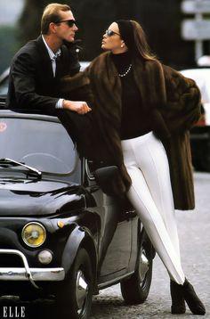 . fashion, luxury life, vintage glamour, bella vita, 80s style, fur, elle macpherson, fiat 500, coat