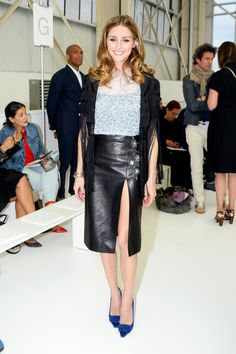 Olivia Palermo dressed in Dior at Christian Dior Cruise 2015 collection fashion show in Brooklyn.