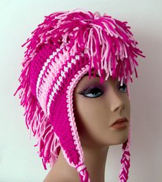 Bright Pink Mohawk Hat  Crocheted  Made to by UnexpectedTreasure, $55.00