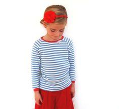 Ringelshirt blau/weiß  in Wunschgröße von Lolli Molli auf DaWanda.com