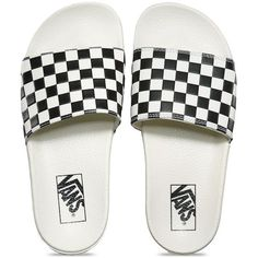 Vans Womens Slide-On (42 NZD) ❤ liked on Polyvore featuring shoes, sandals, vans, vans footwear, checkered shoes, lightweight shoes, polyurethane shoes and vans shoes