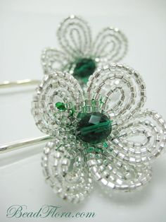 Silver and emerald hair pins ...perfect for flower girls or bridesmaids.  $18