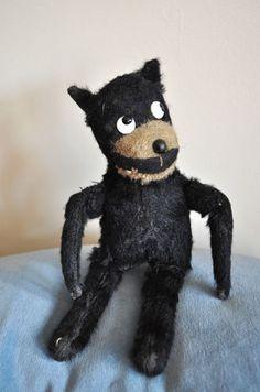Rare antique British mohair soft toy Felix the Cat