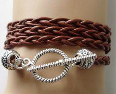 Custom BOHO Leather Triple Wrap Bracelet / Anklet  Pick COLOR