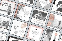 Rose Gold Instagram Templates Pack by Moving Parallels on @creativemarket