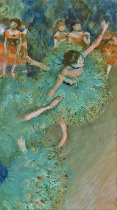 "1879, ""Swaying Dancer (Dancer in Green)"" - Edgar Degas (1834–1917). pastel and gouache on paper. Thyssen-Bornemisza Museum; Madrid, Spain."