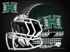 new hawaii concept football helmet designs 29 - Gamedayr Cool Football Helmets, Football Helmet Design, Hawaii Rainbow Warriors, University Of Hawaii, Sports Uniforms, American Football, Concept, Netball Uniforms, Football