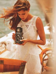 Brown Haired Girl in Lace Dress on a Boat with a Vintage Camera Palm Springs, Lace Dress, White Dress, White Lace, Girls With Cameras, Foto Fun, Look Girl, Female Photographers, Glamour