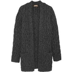 Michael Kors Collection Cable-knit cashmere cardigan (€1.480) ❤ liked on Polyvore featuring tops, cardigans, outerwear, jackets, knitwear, grey, michael kors tops, cable knitwear, grey cable knit cardigan and cashmere cardigans