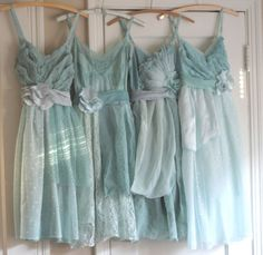 Blue Bridesmaids Dresses, Blue Lace, Romantic, Vintage Style Love this dress. This is a cute idea Vera Wang might be fun Mint Bridesmaid Dresses, Blue Bridesmaids, Dessy Bridesmaid, Wedding Attire, Wedding Gowns, Party Wedding, Blue Wedding, Dream Wedding, New Blue