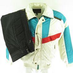 d96423f6f61 Vintage 80s Descente 2 Piece Ski Suit Jacket Mens S Pants 36 x 29 Puffy  Retro