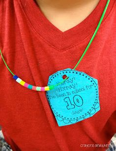 The Tenth Day of School {Freebie!}- a fun necklace to celebrate 10 days in school!!