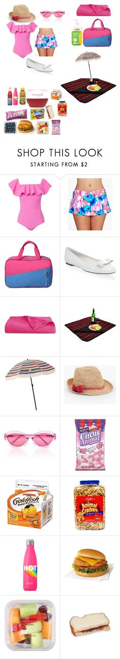 """""""Day At The Beach With Daddy"""" by wolfpriestess ❤ liked on Polyvore featuring Lisa Marie Fernandez, Sunsets, Salvatore Ferragamo, Luxor Linens, Picnic at Ascot, Talbots and Quay"""