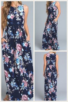 All Glammed Up Floral Maxi Dress - Navy | Maxi Dress, Floral Maxi Dress, Tank Maxi Dress, Floral Print Maxi Dress, Floral Print, Garden Floral Print, Long Dress, Casual Dress, Party Dress, Casual Maxi Dress, Long Casual Dress, Bridal Shower Dress, Rehearsal Dinner Dress, Honeymoon Dress, Vacation Dress, Vacay Dress, Floral Print Vacation Dress, Island Dress, Beach Dress