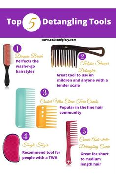 Top 5 Natural Hair Detangling Tools #naturalhair #naturalhairtips #protectivestyle Number one should really be fingers.