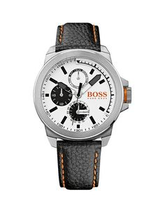 Hugo Boss Classic Round Multieye White Dial Stainless Steel Leather Strap Mens Watch | littlewoods.com