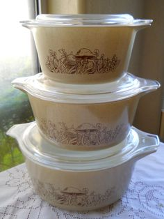 Pyrex Mushroom Casserole Set of Three Forest Fancies by cyndalees, $37.00
