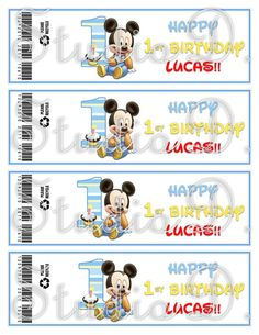 DIY Baby Mickey 1st Birthday & Classic Mickey Mouse Clubhouse Water Bottle Wraps by StudioDBoutique, $6.00
