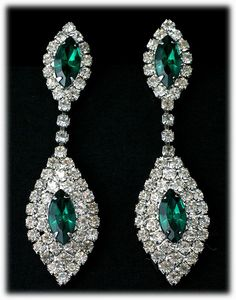 Emerald Green and Crystal Colored Rhinestone Dangling Oval Post Earrings from Catisfaction's Glass Gallery on Ruby Lane