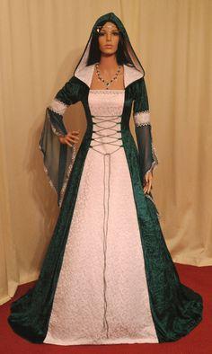 robe médiévale, robe de mariage, robe renaissance, robe de mariée celtique, elven robe, robe de mariée verte, faites sur commande                                                                                                                                                                                 Plus