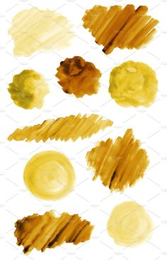 50 Yellow Gold Watercolor Brush Strokes and Shapes; Yellow Gold Watercolor Texture Backgrounds by DESIGN BY nube on Watercolor Splash Png, Gold Watercolor, Watercolor Brushes, Watercolor Texture, Watercolor Design, Apple Logo Wallpaper Iphone, Aesthetic Iphone Wallpaper, Aesthetic Wallpapers, Skin Photo
