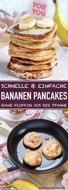 Klassische Bananenpfannkuchen – einfach und lecker – leicht zu kochen – Klassis… Classic banana pancakes – simple and tasty – easy to cook – Classic banana pancakes The ideal residual utilization for all ripe bananas that you don't need – pancake Kids Meals, Easy Meals, Vegetarian Recipes, Healthy Recipes, Good Food, Yummy Food, Banana Recipes, Pancakes And Waffles, Few Ingredients