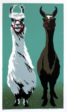 Llamas - Original Color-Reduction Woodcut. $150.00, via Etsy.