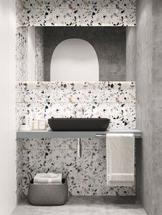 Terrazzo and concrete bathroom designed by Nika Buzko
