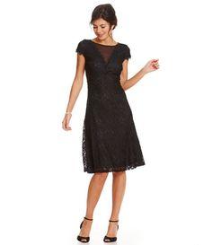 Sangria  Black Lace Sheath Cap Sleeve Knee Length Dress Sz 10 Petite NWT #Sangria #Sheath #Formal