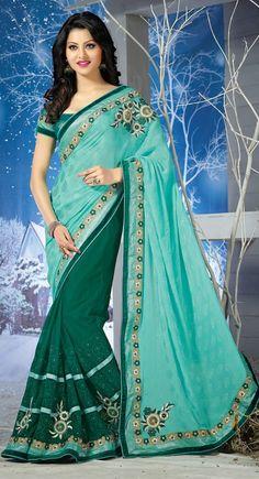 Green and Blue color Half And Half Saree-Chiffon Embroidered #Saree