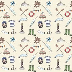 Nautical Pattern - Brooke Weeber  If we had a boy, I would love to have this be his wallpaper :)