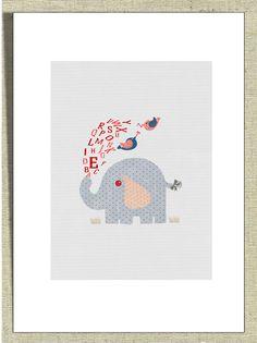Whimsical Baby Nursery Decor Wall Art Alphabet Elephant by Fliss01, £11.00